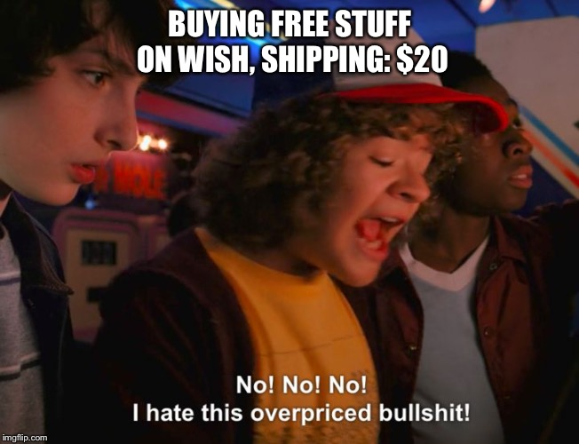 BUYING FREE STUFF ON WISH, SHIPPING: $20 | image tagged in stranger things overpriced,stranger things | made w/ Imgflip meme maker