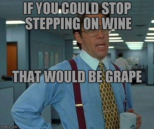 Happy Cinco de Mayo | IF YOU COULD STOP STEPPING ON WINE THAT WOULD BE GRAPE | image tagged in memes,that would be great | made w/ Imgflip meme maker