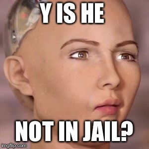 AI robot lady weird face | Y IS HE NOT IN JAIL? | image tagged in ai robot lady weird face | made w/ Imgflip meme maker