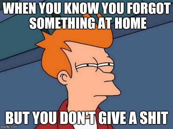Futurama Fry Meme | WHEN YOU KNOW YOU FORGOT SOMETHING AT HOME BUT YOU DON'T GIVE A SHIT | image tagged in memes,futurama fry | made w/ Imgflip meme maker
