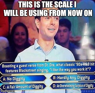 No diggity | THIS IS THE SCALE I WILL BE USING FROM NOW ON | image tagged in memes,funny,diggity,funny memes | made w/ Imgflip meme maker