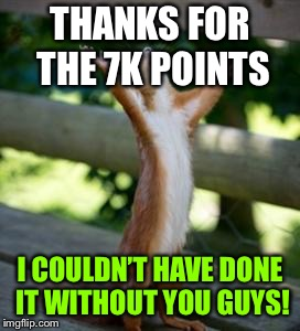 Thankful Squirrel | THANKS FOR THE 7K POINTS I COULDN'T HAVE DONE IT WITHOUT YOU GUYS! | image tagged in thankful squirrel | made w/ Imgflip meme maker
