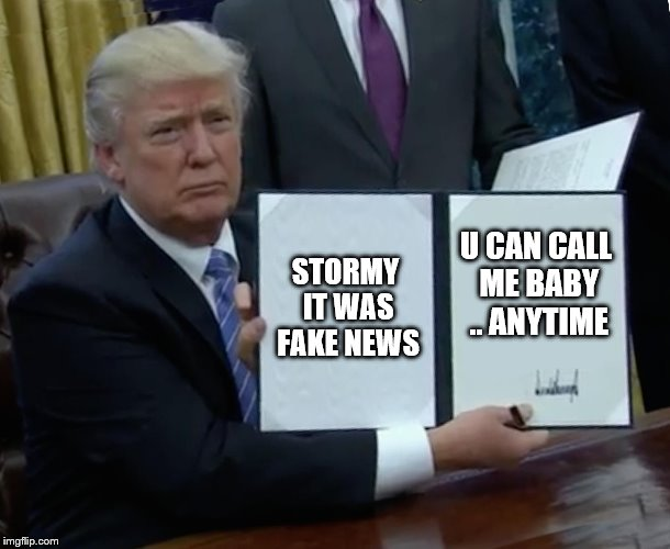 Trump Bill Signing Meme | STORMY IT WAS FAKE NEWS U CAN CALL ME BABY .. ANYTIME | image tagged in memes,trump bill signing | made w/ Imgflip meme maker