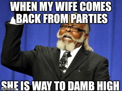 Too Damn High Meme | WHEN MY WIFE COMES BACK FROM PARTIES SHE IS WAY TO DAMB HIGH | image tagged in memes,too damn high | made w/ Imgflip meme maker