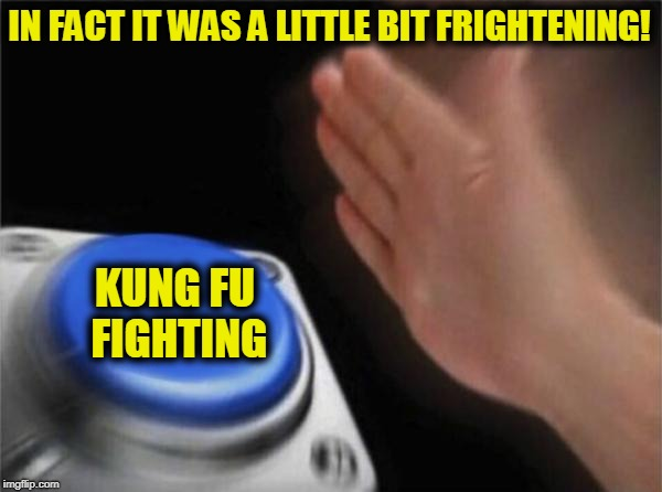 Woh-hoh-hoh-hoah! ... Ha! | IN FACT IT WAS A LITTLE BIT FRIGHTENING! KUNG FU FIGHTING | image tagged in memes,blank nut button,funny,mxm | made w/ Imgflip meme maker