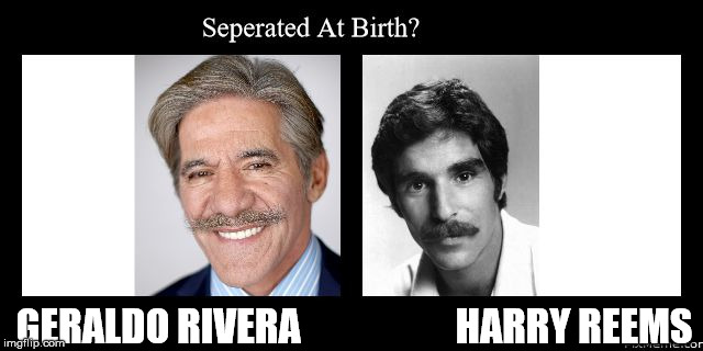 Geraldo vs. Reems | GERALDO RIVERA                    HARRY REEMS | image tagged in geraldo vs reems | made w/ Imgflip meme maker