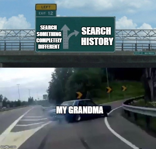 Left Exit 12 Off Ramp Meme | SEARCH SOMETHING COMPLETELY DIFFERENT SEARCH HISTORY MY GRANDMA | image tagged in memes,left exit 12 off ramp | made w/ Imgflip meme maker