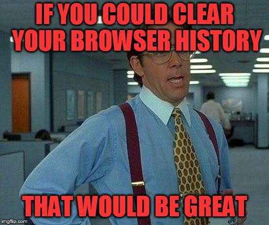 That Would Be Great Meme | IF YOU COULD CLEAR YOUR BROWSER HISTORY THAT WOULD BE GREAT | image tagged in memes,that would be great | made w/ Imgflip meme maker