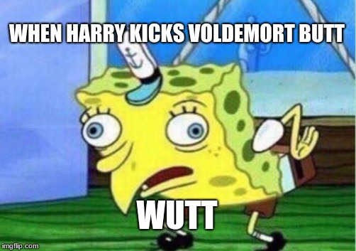 Mocking Spongebob Meme | WHEN HARRY KICKS VOLDEMORT BUTT WUTT | image tagged in memes,mocking spongebob | made w/ Imgflip meme maker
