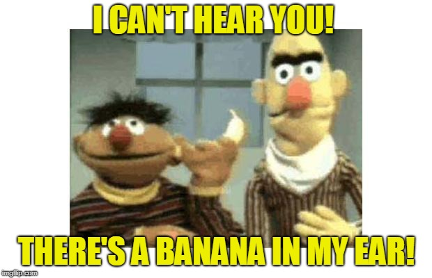 Bart and Ernie | I CAN'T HEAR YOU! THERE'S A BANANA IN MY EAR! | image tagged in bart and ernie | made w/ Imgflip meme maker