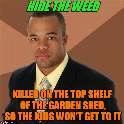 High Maintenance. | HIDE THE WEED KILLER ON THE TOP SHELF OF THE GARDEN SHED, SO THE KIDS WON'T GET TO IT | image tagged in memes,successful black man,weed,420,gardening,father | made w/ Imgflip meme maker