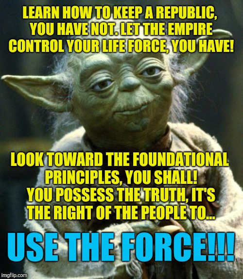 Keep the Republic, you shall! | LEARN HOW TO KEEP A REPUBLIC, YOU HAVE NOT. LET THE EMPIRE CONTROL YOUR LIFE FORCE, YOU HAVE! LOOK TOWARD THE FOUNDATIONAL PRINCIPLES, YOU S | image tagged in memes,star wars yoda,republic,constitution,politics,liberty | made w/ Imgflip meme maker