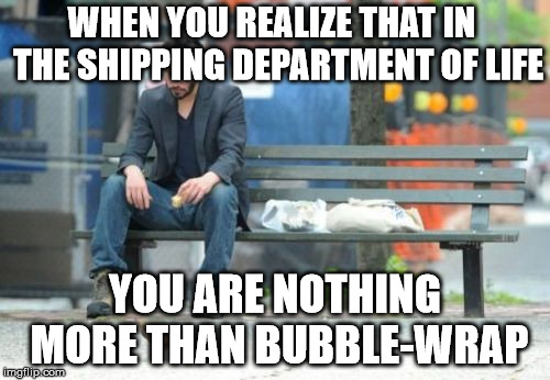 Sad Keanu Meme | WHEN YOU REALIZE THAT IN  THE SHIPPING DEPARTMENT OF LIFE YOU ARE NOTHING MORE THAN BUBBLE-WRAP | image tagged in memes,sad keanu | made w/ Imgflip meme maker