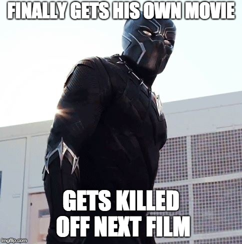 Bad Luck Panther | FINALLY GETS HIS OWN MOVIE GETS KILLED OFF NEXT FILM | image tagged in black panther,bad luck brian | made w/ Imgflip meme maker