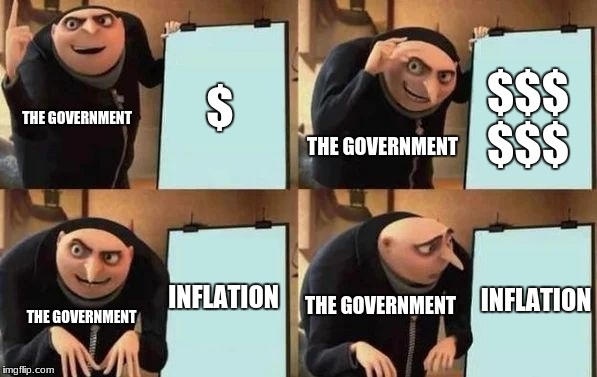 Gru's Plan | $ $$$ $$$ INFLATION INFLATION THE GOVERNMENT THE GOVERNMENT THE GOVERNMENT THE GOVERNMENT | image tagged in gru's plan | made w/ Imgflip meme maker