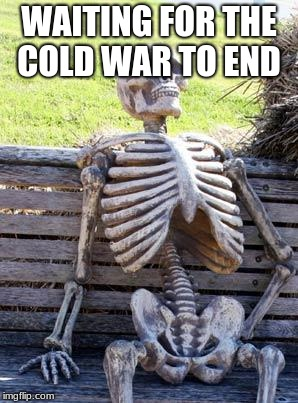 Waiting Skeleton Meme | WAITING FOR THE COLD WAR TO END | image tagged in memes,waiting skeleton | made w/ Imgflip meme maker