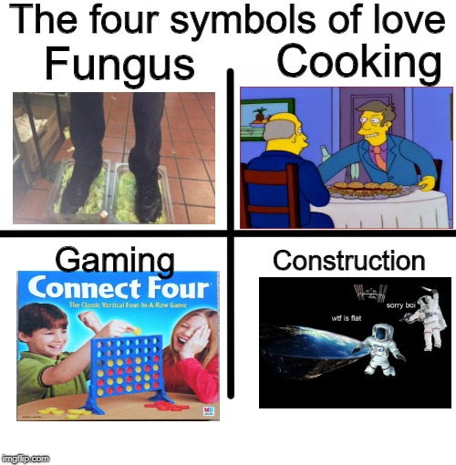 Memes Of February 2018 | The four symbols of love Fungus Cooking Gaming Construction | image tagged in februarymeme | made w/ Imgflip meme maker