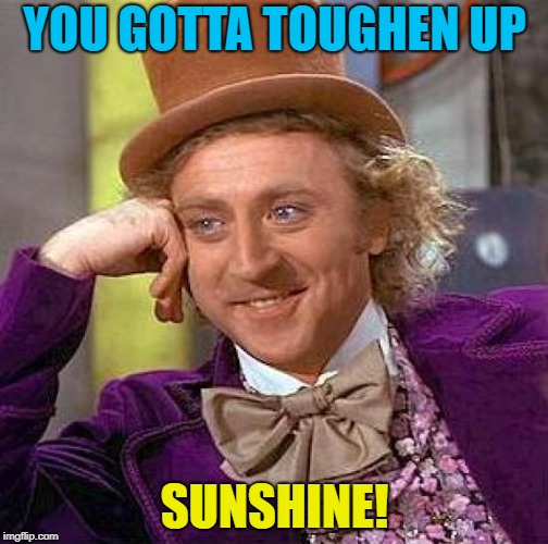 Creepy Condescending Wonka Meme | YOU GOTTA TOUGHEN UP SUNSHINE! | image tagged in memes,creepy condescending wonka | made w/ Imgflip meme maker