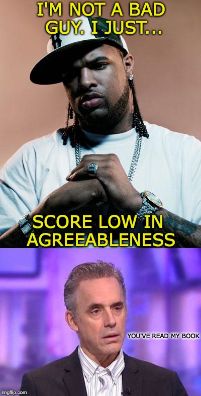 A Lesson in Self-esteem | SCORE LOW IN AGREEABLENESS I'M NOT A BAD GUY. I JUST... YOU'VE READ MY BOOK | image tagged in thug,jordan peterson,self esteem | made w/ Imgflip meme maker