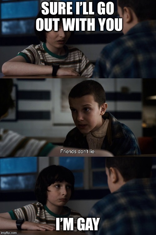 mike and eleven | SURE I'LLGO OUT WITH YOU I'M GAY | image tagged in mike and eleven,gay,friends,lie,lols | made w/ Imgflip meme maker