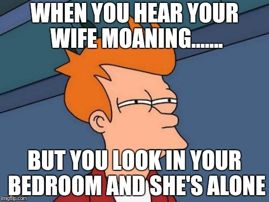 Futurama Fry Meme | WHEN YOU HEAR YOUR WIFE MOANING....... BUT YOU LOOK IN YOUR BEDROOM AND SHE'S ALONE | image tagged in memes,futurama fry | made w/ Imgflip meme maker