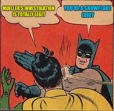 Batman Slapping Robin Meme | MUELLER'S INVESTIGATION IS TOTALLY LEGIT YOU'RE A SNOWFLAKE IDIOT | image tagged in memes,batman slapping robin | made w/ Imgflip meme maker
