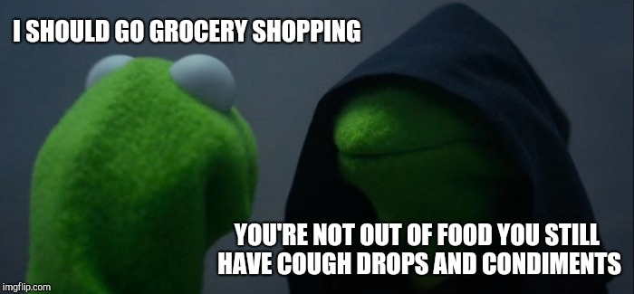 Procrastinating Kermit | I SHOULD GO GROCERY SHOPPING YOU'RE NOT OUT OF FOOD YOU STILL HAVE COUGH DROPS AND CONDIMENTS | image tagged in memes,evil kermit,kermit me to me,me to me | made w/ Imgflip meme maker