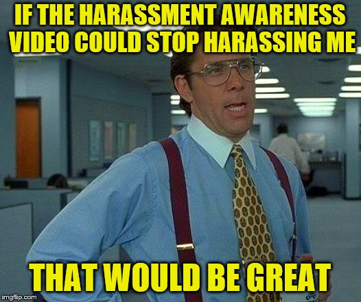 It crashes just before you finish it, and then you have to watch the dang thing again for it to log that you took it. |  IF THE HARASSMENT AWARENESS VIDEO COULD STOP HARASSING ME; THAT WOULD BE GREAT | image tagged in memes,that would be great,harassment,training,video | made w/ Imgflip meme maker