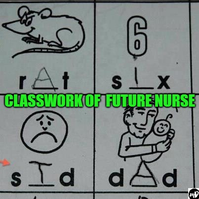 CLASSWORK OF  FUTURE NURSE | image tagged in nurse,medical,dark humor | made w/ Imgflip meme maker