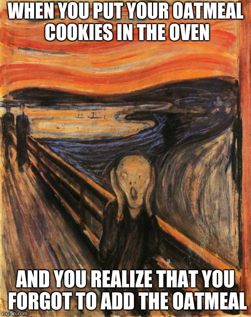 WHEN YOU PUT YOUR OATMEAL COOKIES IN THE OVEN AND YOU REALIZE THAT YOU FORGOT TO ADD THE OATMEAL | image tagged in scream | made w/ Imgflip meme maker