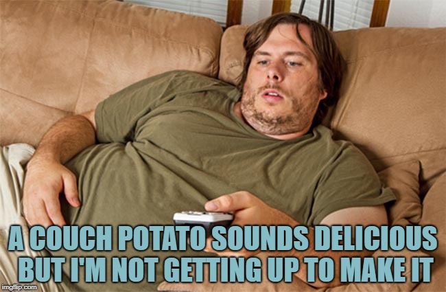 couch potato | A COUCH POTATO SOUNDS DELICIOUS BUT I'M NOT GETTING UP TO MAKE IT | image tagged in couch potato,funny,memes,funny memes | made w/ Imgflip meme maker