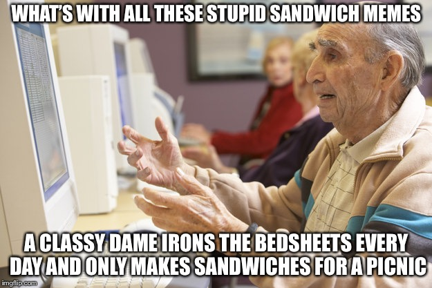 Old man computer confused | WHAT'S WITH ALL THESE STUPID SANDWICH MEMES A CLASSY DAME IRONS THE BEDSHEETS EVERY DAY AND ONLY MAKES SANDWICHES FOR A PICNIC | image tagged in old man computer confused,memes,back in my day | made w/ Imgflip meme maker