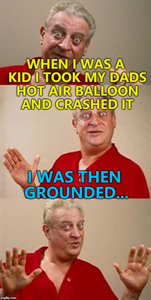 Punishment to fit the crime... :) | WHEN I WAS A KID I TOOK MY DADS HOT AIR BALLOON AND CRASHED IT I WAS THEN GROUNDED... | image tagged in bad pun dangerfield,memes,grounded,hot air balloon | made w/ Imgflip meme maker