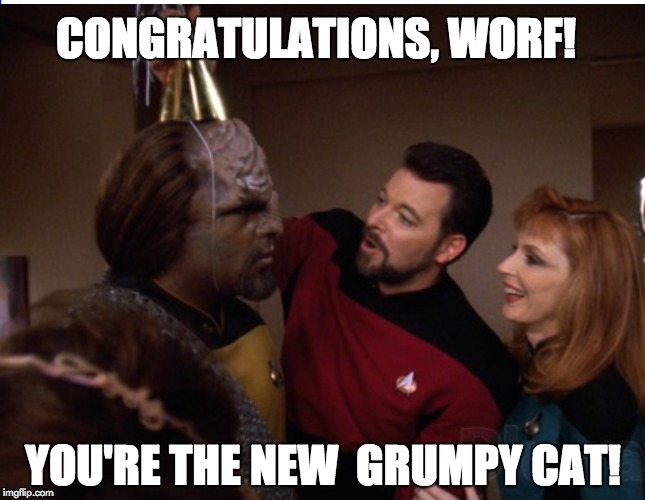 Can someone funnier than me make a meme with this template? Or maybe a birthday card... | CONGRATULATIONS, WORF! YOU'RE THE NEW  GRUMPY CAT! | image tagged in star trek,grumpy cat,birthday | made w/ Imgflip meme maker