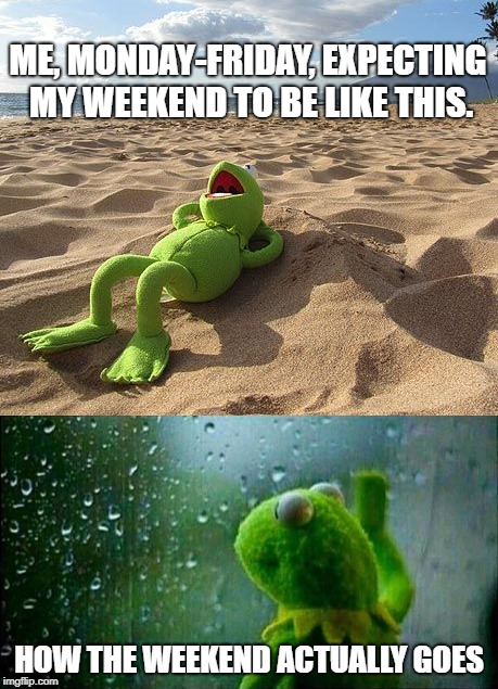 Give it an upvote if you could use a vacation or a beach day... | ME, MONDAY-FRIDAY, EXPECTING MY WEEKEND TO BE LIKE THIS. HOW THE WEEKEND ACTUALLY GOES | image tagged in sunny,rain,kermit,weekend,plans ruined | made w/ Imgflip meme maker