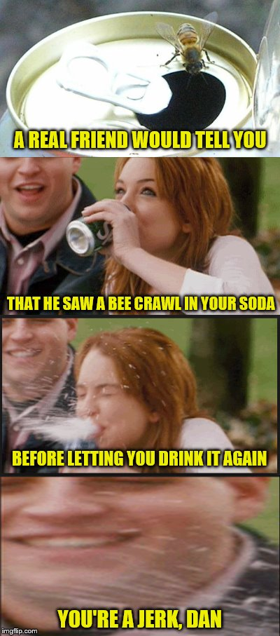 Is he really your friend? | A REAL FRIEND WOULD TELL YOU THAT HE SAW A BEE CRAWL IN YOUR SODA BEFORE LETTING YOU DRINK IT AGAIN YOU'RE A JERK, DAN | image tagged in memes,bees,soda,friendship | made w/ Imgflip meme maker