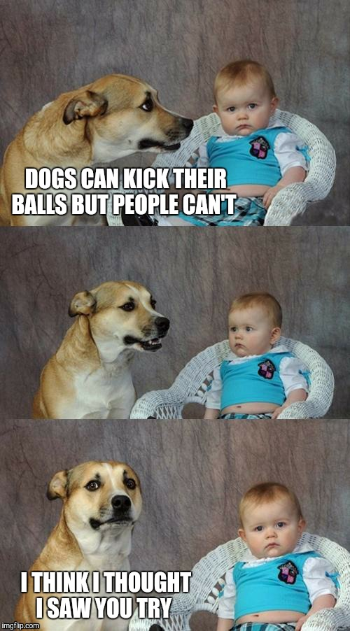 DOGS CAN KICK THEIR BALLS BUT PEOPLE CAN'T I THINK I THOUGHT I SAW YOU TRY | made w/ Imgflip meme maker