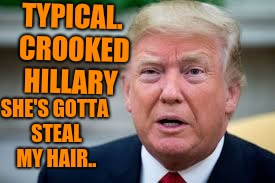 TYPICAL. CROOKED HILLARY SHE'S GOTTA STEAL MY HAIR.. | made w/ Imgflip meme maker