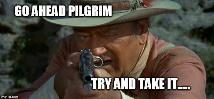 Try and take it | GO AHEAD PILGRIM TRY AND TAKE IT..... | image tagged in johnwayne,duke | made w/ Imgflip meme maker