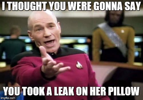 Picard Wtf Meme | I THOUGHT YOU WERE GONNA SAY YOU TOOK A LEAK ON HER PILLOW | image tagged in memes,picard wtf | made w/ Imgflip meme maker