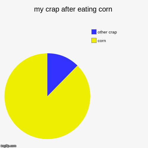 my crap after eating corn | corn, other crap | image tagged in funny,pie charts | made w/ Imgflip pie chart maker