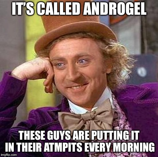 Creepy Condescending Wonka Meme | IT'S CALLED ANDROGEL THESE GUYS ARE PUTTING IT IN THEIR ATMPITS EVERY MORNING | image tagged in memes,creepy condescending wonka | made w/ Imgflip meme maker