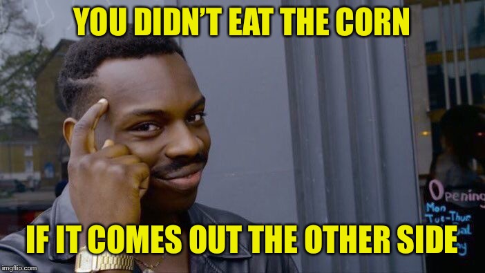 Roll Safe Think About It Meme | YOU DIDN'T EAT THE CORN IF IT COMES OUT THE OTHER SIDE | image tagged in memes,roll safe think about it | made w/ Imgflip meme maker