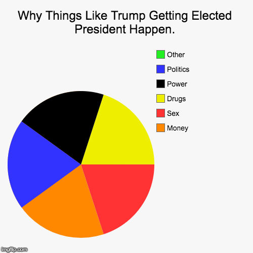A Simple Explanation to Today's Problems | Why Things Like Trump Getting Elected President Happen. | Money, Sex, Drugs, Power, Politics, Other | image tagged in funny,pie charts | made w/ Imgflip pie chart maker