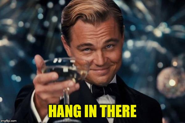 Leonardo Dicaprio Cheers Meme | HANG IN THERE | image tagged in memes,leonardo dicaprio cheers | made w/ Imgflip meme maker