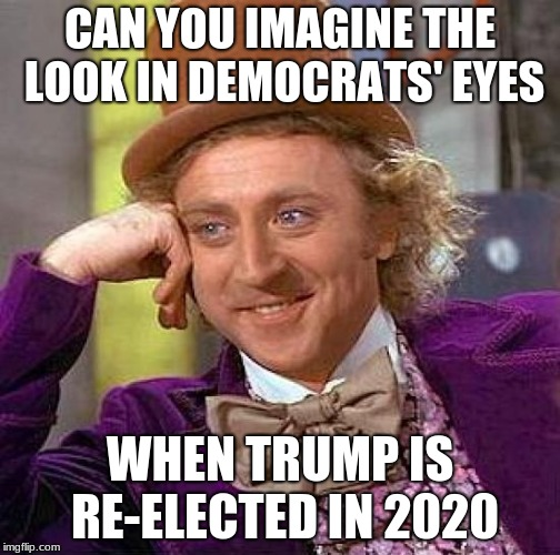 Creepy Condescending Wonka Meme | CAN YOU IMAGINE THE LOOK IN DEMOCRATS' EYES WHEN TRUMP IS RE-ELECTED IN 2020 | image tagged in memes,creepy condescending wonka | made w/ Imgflip meme maker