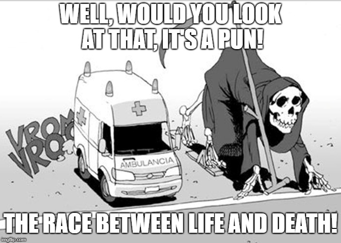 WELL, WOULD YOU LOOK AT THAT, IT'S A PUN! THE RACE BETWEEN LIFE AND DEATH! | image tagged in 11 | made w/ Imgflip meme maker