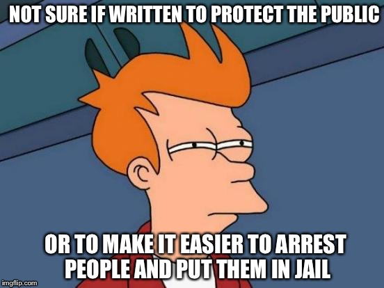 What I've been wondering about laws criminalizing victimless acts | NOT SURE IF WRITTEN TO PROTECT THE PUBLIC OR TO MAKE IT EASIER TO ARREST PEOPLE AND PUT THEM IN JAIL | image tagged in memes,futurama fry | made w/ Imgflip meme maker