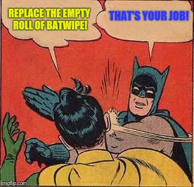 Batman Slapping Robin Meme | REPLACE THE EMPTY ROLL OF BATWIPE! THAT'S YOUR JOB! | image tagged in memes,batman slapping robin | made w/ Imgflip meme maker
