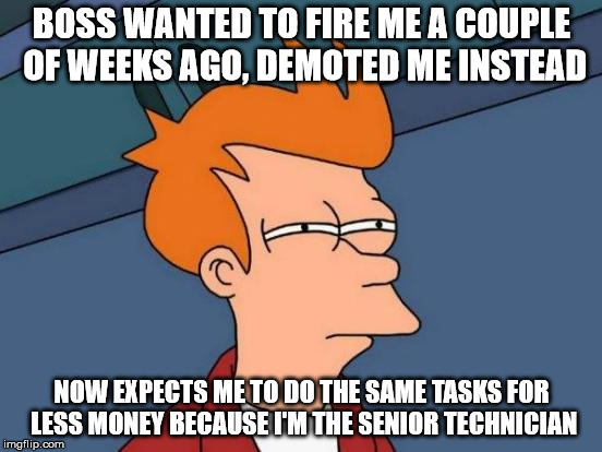 Futurama Fry Meme | BOSS WANTED TO FIRE ME A COUPLE OF WEEKS AGO, DEMOTED ME INSTEAD NOW EXPECTS ME TO DO THE SAME TASKS FOR LESS MONEY BECAUSE I'M THE SENIOR T | image tagged in memes,futurama fry | made w/ Imgflip meme maker